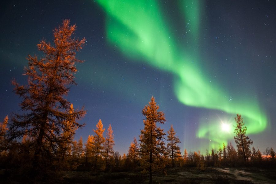Northern lights green Russia
