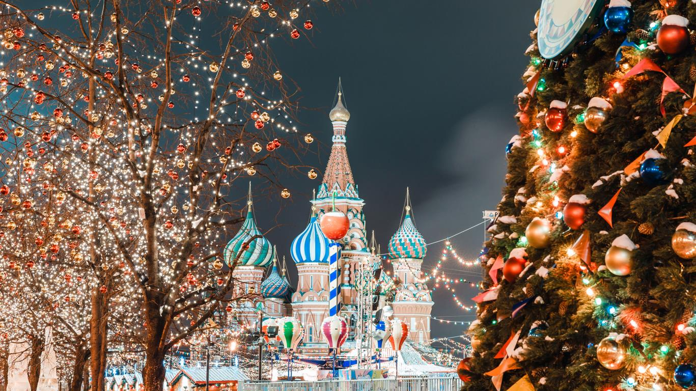 New year decorations on Red Square