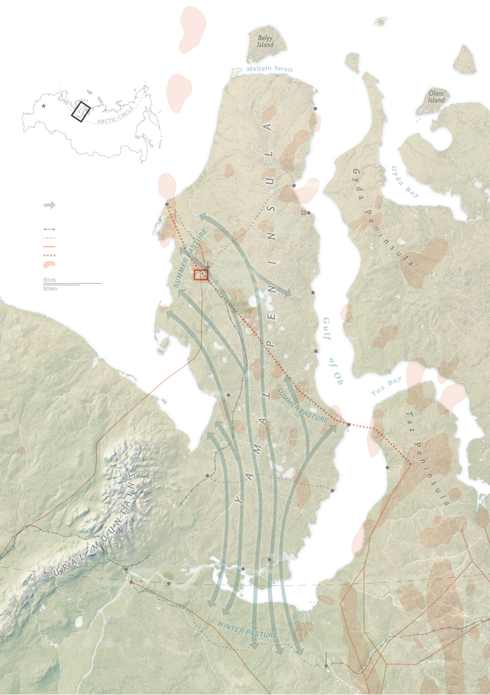 Nenets migration routes map